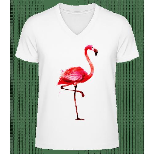Flamingo - Männer Bio T-Shirt V-Ausschnitt