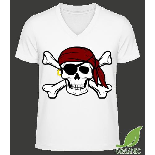 Piraten Totenkopf - Männer Bio V-Neck T-Shirt
