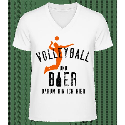 Volleyball Und Bier - Männer Bio T-Shirt V-Ausschnitt