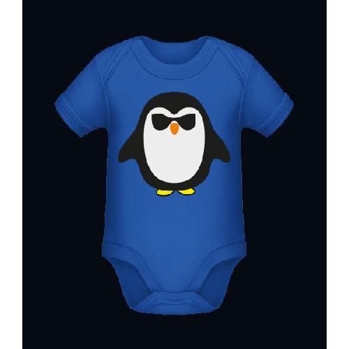 Cooler Pinguin Schwarze Brille - Baby Bio Strampler