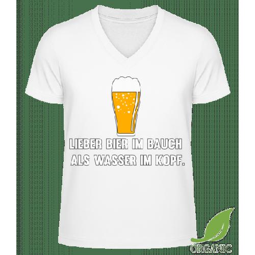 Lieber Bier Im Bauch Als Wasser - Männer Bio V-Neck T-Shirt