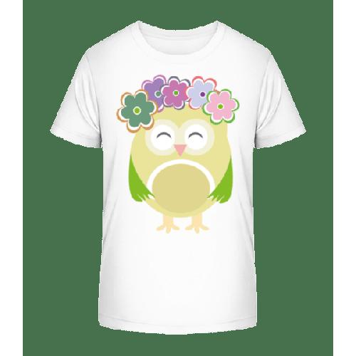 Süße Eule Mit Blumenkranz - Kinder Premium Bio T-Shirt