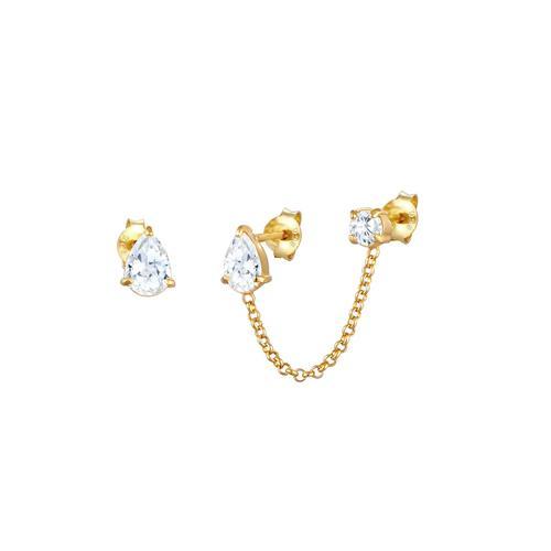 Elli Elli Ohrringe Stecker Zirkonia Kristalle Tropfen-Form 925 Silber Ohrringe Damen