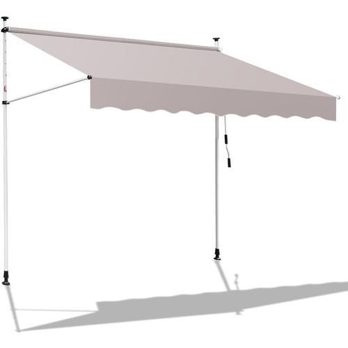 400 x 120 cm Markise Einziehbar Klemmmarkise Balkonmarkise Sonnenschutz ohne Bohren