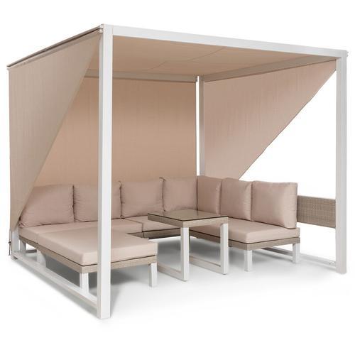 Havanna Pavillon & Lounge-Set 270x230x270cm 4 Zweisitzer Stahl Polyrattan - Blumfeldt