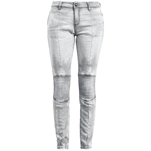 Rock Rebel by EMP Hellgraue Jeans mit Bikernähten Damen-Jeans - grau