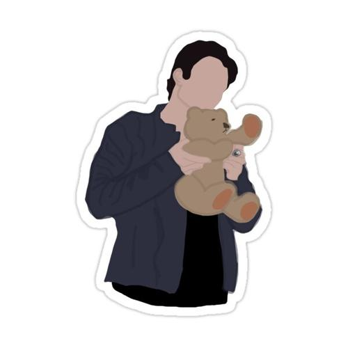 Damon and teddy bear Sticker