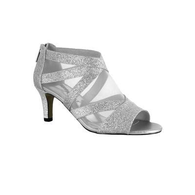 Wide Width Women's Dazzle Pumps by Easy Street in Silver Glitter (Size 9 1/2 W)