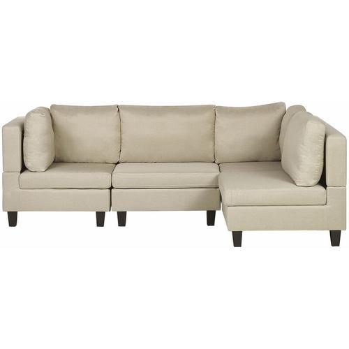 Beliani - Ecksofa Beige Polsterbezug L-förmig 4-Sitzer Modulsofa Wohnzimmermöbel Modern Wohnzimmer