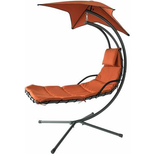 SoBuy OGS39-ZG Schwebeliege mit Sonnenschirm Relaxliege Schwingliege Hängesessel Sonnenliege