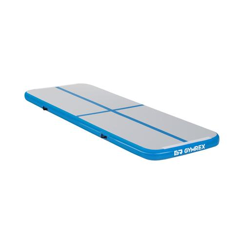 Gymrex Aufblasbare Turnmatte - Airtrack - 300 x 100 x 10 cm - 150 kg - blau/grau GR-ATM1