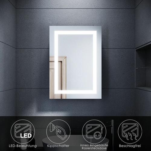 LED Spiegelschrank Badezimmerspiegel Badschrank mit Beleuchtung Schiebetür Kippschalter