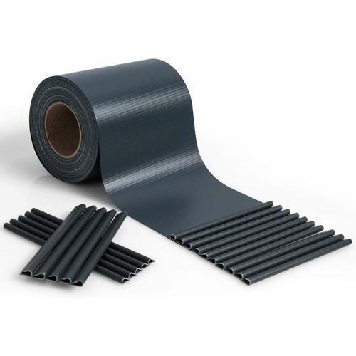 COSTWAY Zaunblende PVC, Sichtschutzfolie 19cm breit, Sichtschutzstreifen mit Befestigungsclips,