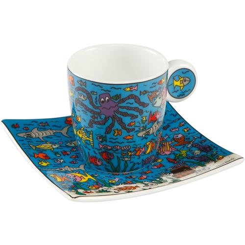Goebel Espressotasse Under the Deep Blue Sea bunt Becher Tassen Geschirr, Porzellan Tischaccessoires Haushaltswaren
