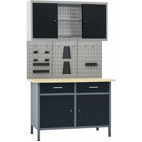 Werkbank mit 3 Werkzeugwänden und 1 Wandschrank