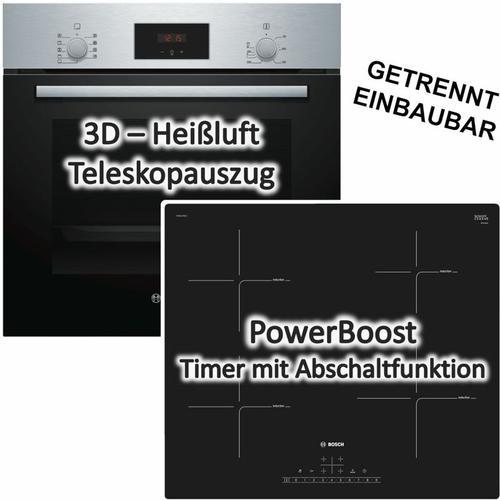 HERDSET INDUKTION AUTARK 3D Heißluft Backofen + Induktions Kochfeld 60cm - Bosch
