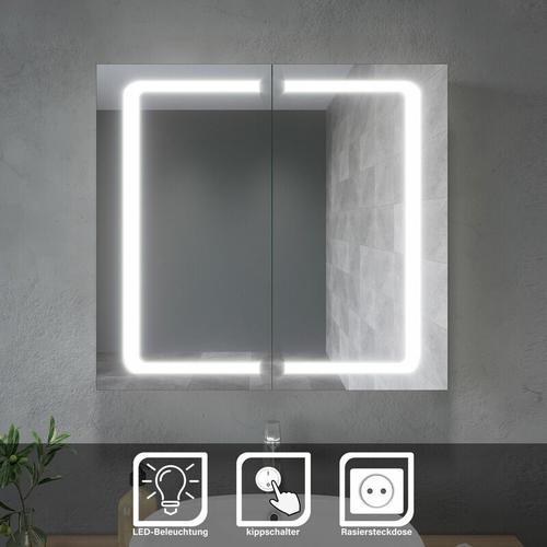 LED Spiegelschrank Bad Badezimmerspiegel Wandschrank Badschrank mit Beleuchtung mit Steckdose