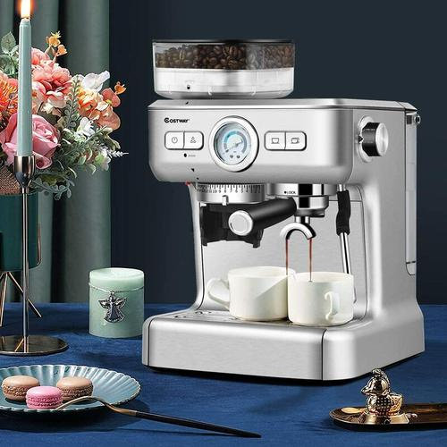 Siebtraegermaschine mit 30 Stufen Mahlwerk, Kaffeemaschine mit Milchaufschaeumduese,