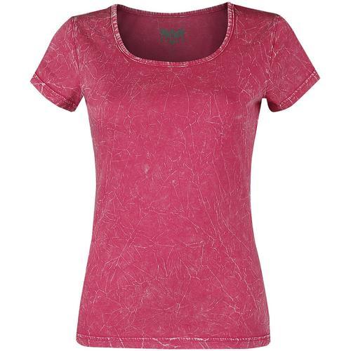 Black Premium by EMP Pinkes T-Shirt mit Crinkle Waschung Damen-T-Shirt - pink