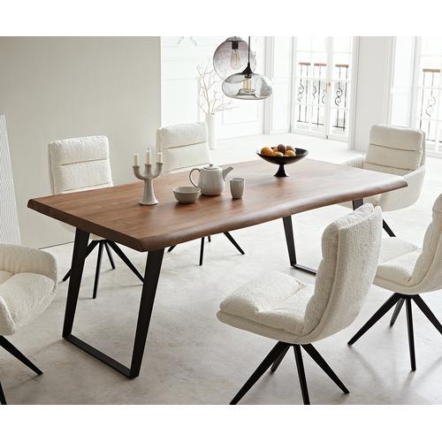 DELIFE Esstisch Edge 200x100 XL Akazie Braun Metall Schräg Live-Edge, Esstische, Baumkantenmöbel, Massivholzmöbel, Massivholz