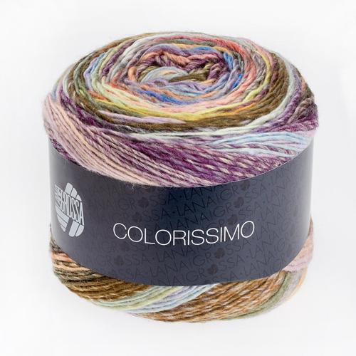Colorissimo von Lana Grossa, Blassgelb/Orange/Weinrot/Khaki/Grau, aus Schurwolle