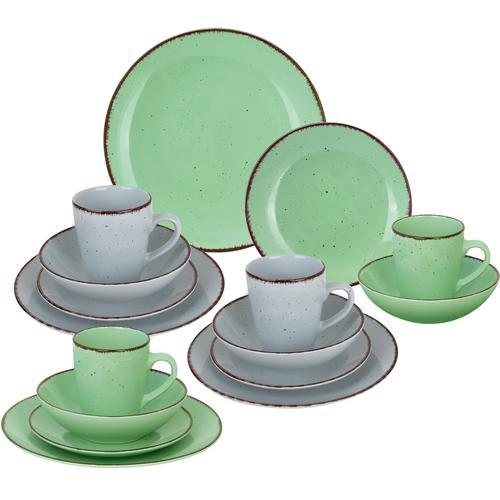 ARTE VIVA Kombiservice Puro, (Set, 16 tlg.), Farbset in lindgrün und grau, vom Sternekoch Thomas Wohlfarter empfohlen bunt Geschirr-Sets Geschirr, Porzellan Tischaccessoires Haushaltswaren