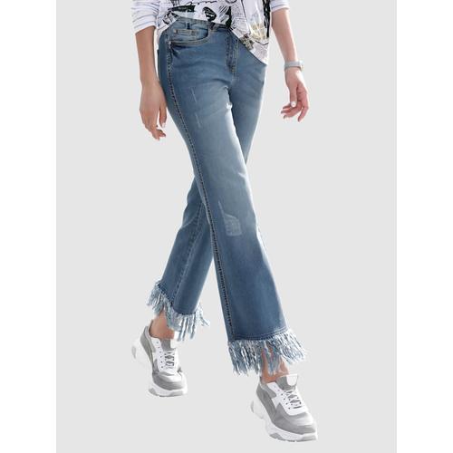 AMY VERMONT, Jeans mit Fransen am Saum, blau
