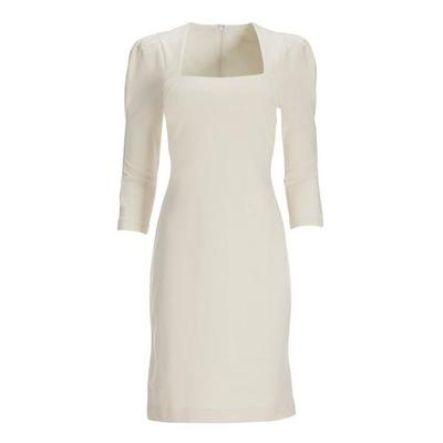 Boston Proper - Puff-Sleeve Square-Neck Sheath Dress - Off White - 02