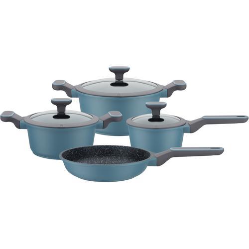 GSW Topf-Set Blue Granit, Aluminiumguss, (Set, 7 tlg.), Induktion blau Topfsets Töpfe Haushaltswaren