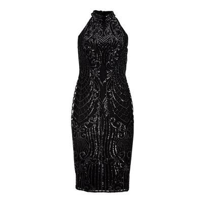 Boston Proper - High-Neck Sleeveless Embellished Sheath Dress - Black - 0