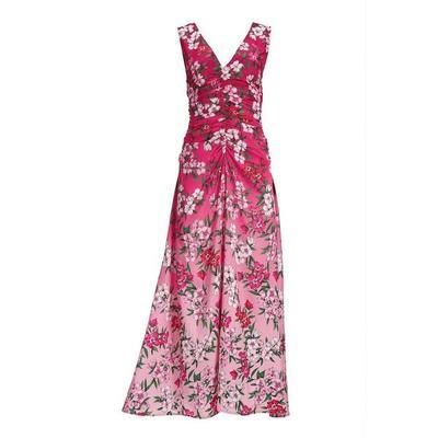 Boston Proper - Floral Ombre Ruched V-Neck Maxi Dress - Ombre Floral - 04