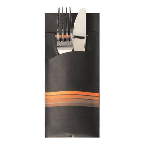 Bestecktaschen 8,5 x 20 cm »Stripes« mit Serviette, 520 Stück schwarz, Papstar