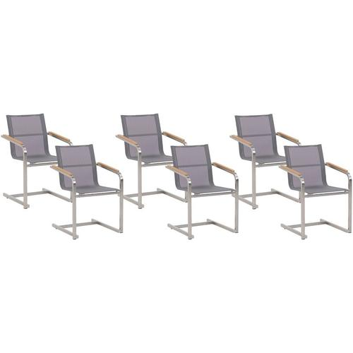 Beliani - Gartenstuhl Grau Edelstahl 6er Set mit Textilbespannung Moderner Look Gartenausstattung