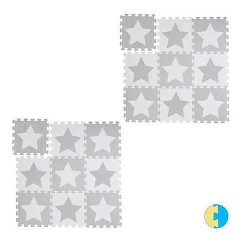 18 x Puzzlematte Sterne Krabbelmatte Kinderspielmatte Puzzleteppich Kindermatte weiß-kombi