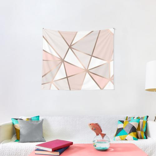 Pink, Grey & Gold Geo Wall Tapestry Wall Tapestry