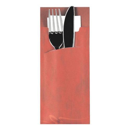 Bestecktaschen 8,5 x 20 cm mit Serviette, 520 Stück bordeux, Papstar