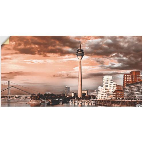 Artland Wandbild Düsseldorf Skyline III, Architektonische Elemente, (1 St.), in vielen Größen & Produktarten -Leinwandbild, Poster, Wandaufkleber / Wandtattoo auch für Badezimmer geeignet braun Kunstdrucke Bilder Bilderrahmen Wohnaccessoires