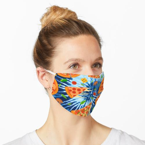Blue Tie Dye Pepperoni Pizza Maske