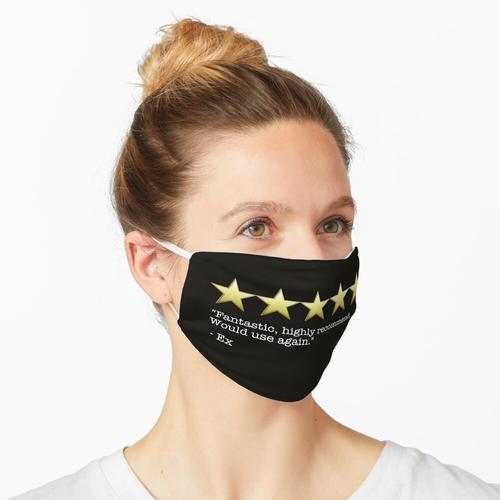Fünf-Sterne-Bewertung und Bewertung Maske