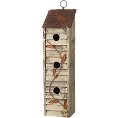 Glitzhome Distressed Solid Wood Bird House, 17.95-in
