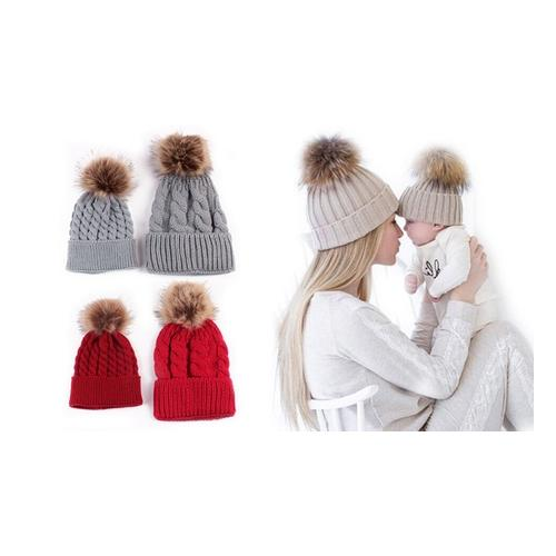 Mutter- und Baby-Mütze: Beige