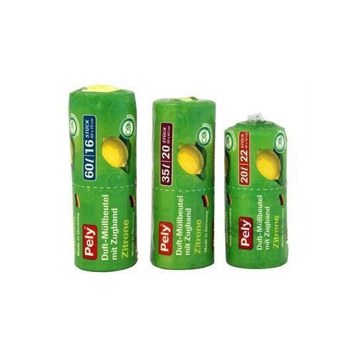 160x Pely Clean Zugband-Beutel mit Zitronenduft 60 l