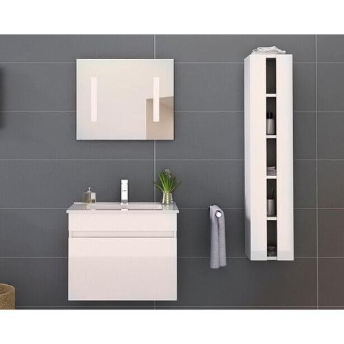 Möbilia Badezimmer Set Hochglanz weiss grau Hochglanz