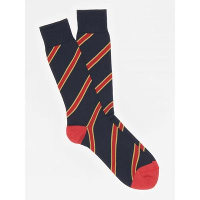 J.McLaughlin Men's Diagonal Regiment Stripe Socks Navy Blue/Yellow/Red