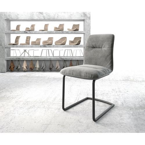 DELIFE Esszimmerstuhl Vinjo-Flex Grau Samt Freischwinger rund schwarz, Esszimmerstühle