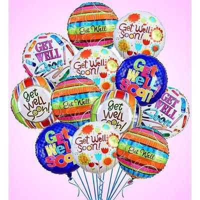 Air-Rangement® - Get Well Mylar Balloons One Dozen Balloons by 1-800 Flowers