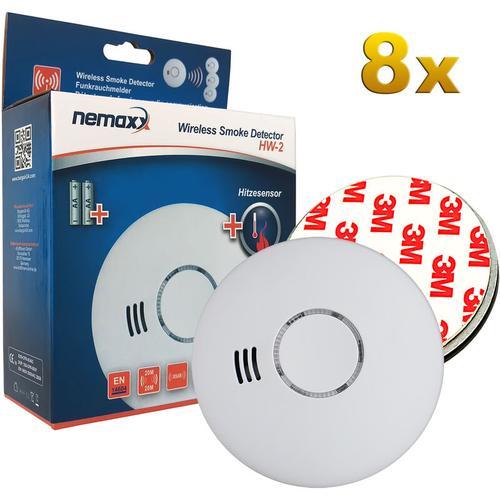 8x HW-2 Funkrauchmelder Rauchmelder Rauchwarnmelder Brandmelder Hitzemelder mit kombiniertem Rauch