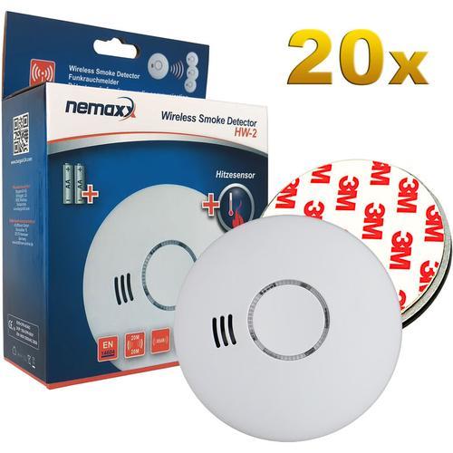 20x HW-2 Funkrauchmelder Rauchmelder Rauchwarnmelder Brandmelder Hitzemelder mit kombiniertem