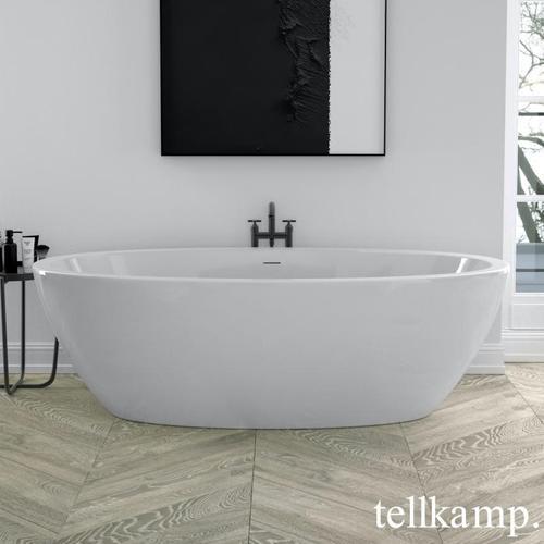 Tellkamp Space Freistehende Oval-Badewanne L: 190 B: 94 H: 60 cm, mit Beleuchtung weiß glanz, Schürze weiß glanz, ohne Füllfunktion 0100-288-0B-A/CR, EEK: A+