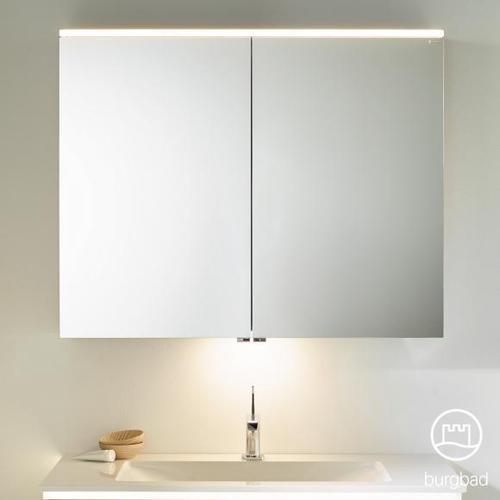 Burgbad Eqio Spiegelschrank mit LED-Beleuchtung B: 100 H: 80 T: 17 cm, 2 Türen weiß glanz, mit Waschtischbeleuchtung SPGT100F2009, EEK: A+